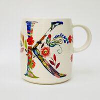 "ANTHROPOLOGIE Starla M Halfmann Initial ""K"" Monogram Petal Palette Coffee Mug 4"""