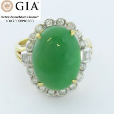 NYJEWEL 18k Gold GIA Certified Natural Jadeite Jade 1ct Diamonds Cocktail Ring