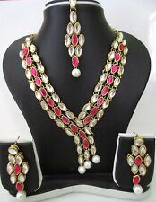 Indian Traditional Pink White Bollywood Ethnic Bridal Fashion Jewelry Set 4 PS