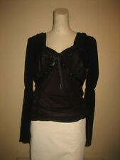 Parasuco Black Long Sleeve Double Layer Pheasant Corset Top Size L