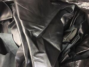 Lot of leather scraps Black lambskin hide skin - 13 oz