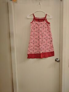 Hanna Andersson Red, White, Pink Print Dress, Size 7/8 years