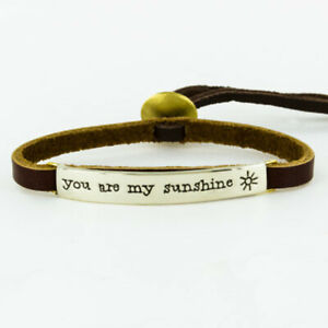 Far Fetched YOU ARE MY SUNSHINE Silver BRACELET on Sienna Leather Jewelry BA-119