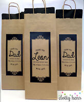 PERSONALISED PAPER WEDDING BOTTLE GIFT BAGS | KRAFT ORNATE | WINE  FAVOURS