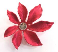 Red Enamel - White Crystal Rhinestone Brooch Pin - Christmas Poinsettia Flower -