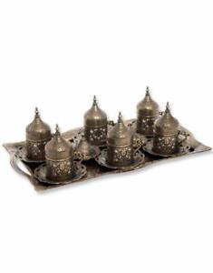 Trmade Turkish Copper Greek Arabic Coffee Espreso Serving Cup Saucer