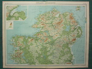 1921 LARGE MAP ~ IRELAND NORTHERN SECTION ~ TYRONE LONDONDERRY MONAGHAN DOWN