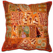 24x24 Indian Patchwork Pillow Cover Orange Bohemian Pillow Indian floor cushion