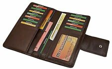 Grosse Echt Leder señora dinero bolsa billetera señora billetera bolsa marrón NUEVO
