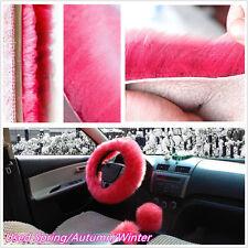 3 piezas/Set Autos piel de lana suave cubierta para volante/Freno/Engranaje Perilla de Palanca de cambios