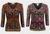 Indy Boho  Print 3/4 Sleeve V-Neck Velour Lace Print Top Blouse 8 10 12 14 18