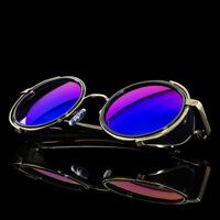 Black Old School Funky Goth Steampunk Side Shield Mens Womens Round Sunglasses