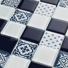 Retro Style Landhaus Glasmosaik Fliesen Mosaik Mosaikfliesen Weiß Blau 4,8 x 4,8