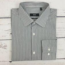 Hugo Boss Mens Grey Stripe Long Sleeve Slim Fit Shirt Size Medium 39 inch Chest