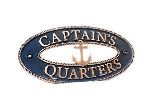 Vintage CAPTAINS QUARTERS Sign Nautical Plaque Ship Boat Captain Signs Plaque
