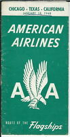 AB-006 - American Airlines Chicago Texas California Timetable January 18, 1948
