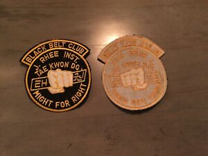 tae kwan do,VINTAGE patch,j.rhee inst.,nos,made usa1970'sBLACK BELT CLUB