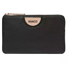 MIMCO Black Pouch Echo Leather Wallet Bag Purse BNWT Rosegold Hardware Dust Bag