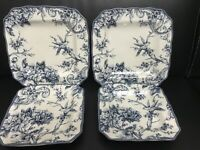 Set Of 4 Plates 222 Fifth Adelaide-Blue & White Square Salad X 2 & Dinner X 2