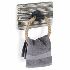 MyGift Rustic Industrial Wall-Mounted Torched Wood & Rope Towel Ring