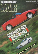 Performance Car 12/1988 featuring BMW Z1, Porsche, Ferrari, Ford, Vauxhall, Audi