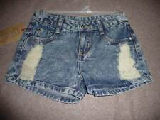 Over The Top Acid Wash Denim Shorts With Front Abrasion Size 8-10 NWT