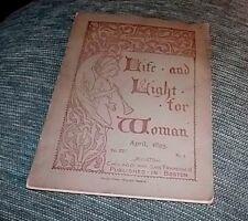 RARE ORIGINAL COPY April 1895  Life and Light for Woman, Vol. XXV  ILUSTRATED