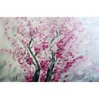 PINK CHERRY Blossom Carried by Wind White Gray Original PAINTING Handmade Art
