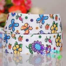 5yds 7/8'' (22mm) Beautiful butterfly flower printed grosgrain ribbon Y898.