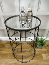 Silver grey mirrored round side table modern chic home bedroom hallway