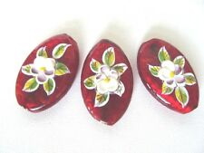 Murano Lampwork Tear Drop Glass Beads Foil Ruby Red With Raised Flower Design