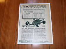 "Wow! Vintage & Rare Simplex Go Karts 8 1/2"" X 11"" Black And White Add 1 Sided"