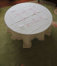 Antique Hungarian Linen Tablecloth Embroidered Center Village Hand Made 48X50