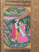Original Indian Miniature Painting 'Lovers' Radha Krishna Rajasthani Folk Art