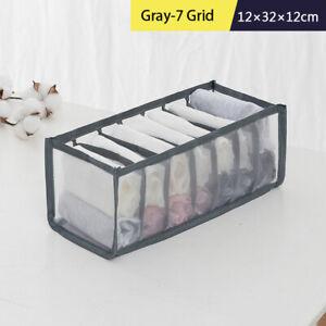 Underwear Storage Box Bins Box for Socks Underwear Bra Foldable Grey-7 Grid