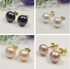 turn up~ A pair 18k gold filled 7-8 mm Freshwater Pearl Studs Earrings