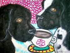 Newfoundland Drinking Coffee Dog Collectible 8x10 Art Print Signed by Artist