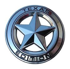 "TEXAS STAR EDITION 3"" EMBLEM CHROME AND BLACK UNIVERSAL STICK-ON TACOMA TUNDRA"