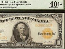 1922 $10 DOLLAR GOLD CERTIFICATE COIN NOTE LARGE CURRENCY Fr 1173 PMG 40EPQ STAR