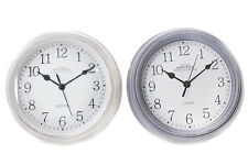 Small Chic Antique Distressed White Grey Vintage Round Kitchen Wall Clock London