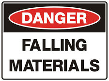 """Safety Sign """"DANGER FALLING MATERIALS  5mm corflute 300MM X 225MM"""""""