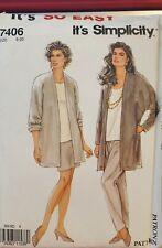 Vtg Simplicity easy pattern 7406 Misses' Jacket, Skirt, Pants size 8 - 20 uncut