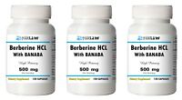 Berberine HCL with Banaba Extract 500mg 1/2/3 BIG Bottles 120/240/360 Capsules
