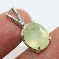 Natural Prehnite Gemstone Pendant 925 Sterling Silver Handmade Jewelry