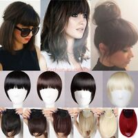 Long Side Bangs Clip on Front Neat Bang Fringe Clip in Hair Extensions Wedding