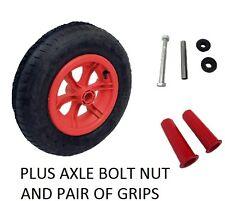 "RED SPOKED + AXLE 16"" Pneumatic Wheelbarrow Wheel Tyre 3.50 - 8 WITH 25MM GRIPS"
