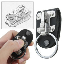 Black Leather Detachable Key Chain Stainless Steel Belt Clip Ring Holder Keyring