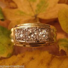 BAGUE HOMME PL/OR 14 K SERTIE 3 DIAMANTS cz