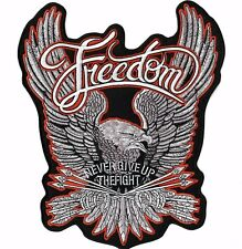 """Freedom EAGLE Military Patriotic Large Wings Motorcycle Jacket Back Patch 11"""""""