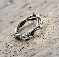 925 Sterling Silver Biker Thorns Above Knuckle Midi Pinkie Ring Size 4.5 A3174